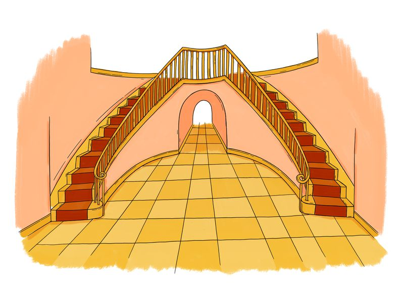 An illustration of an entrance to the home with two big staircases.