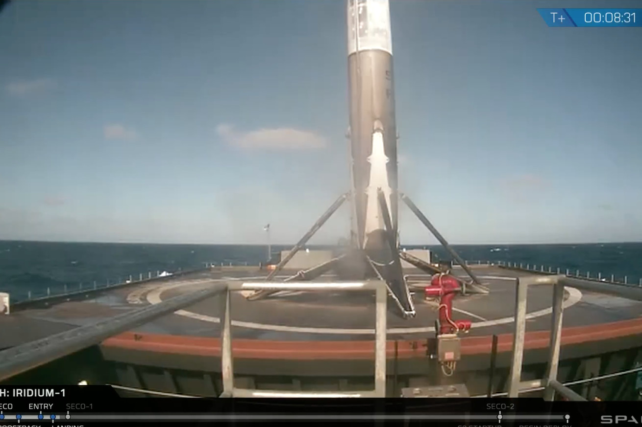 spacex lands its falcon 9 rocket at sea following first launch since august