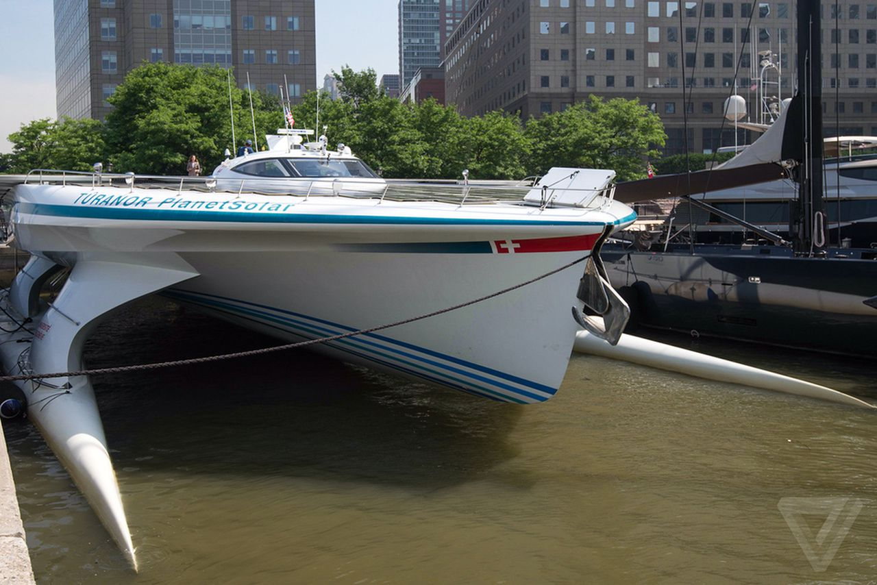 an inside look at the world s largest solar powered boat the verge tûranor planetsolar first boat to circle the globe solar power poses for photos in nyc