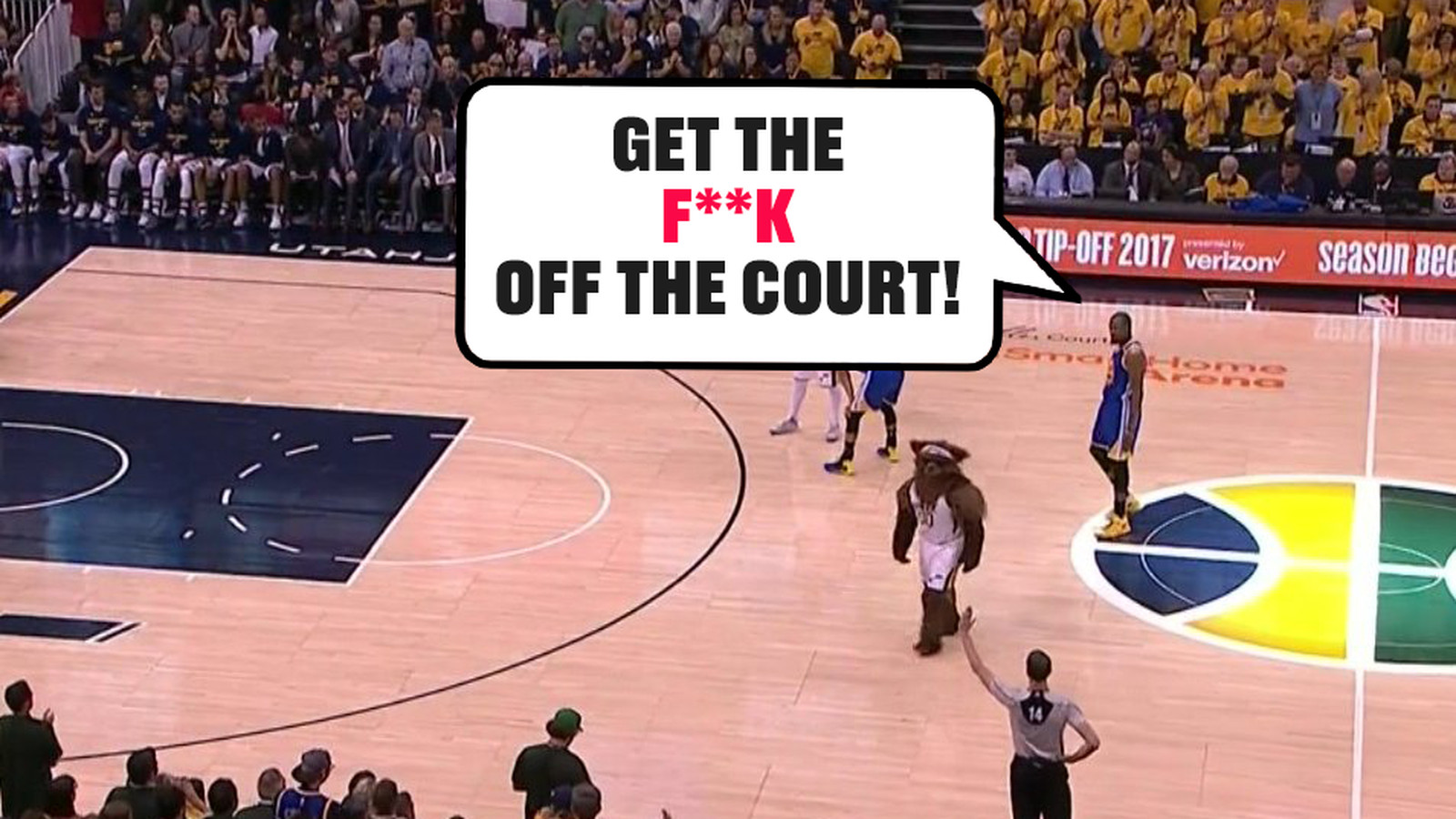 Kevin Durant tells Jazz mascot to 'get the f**k off the ...