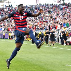 Jozy Altidore scored the first goal of the game on a free kick.