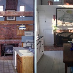 The kitchen, before and after renovation.