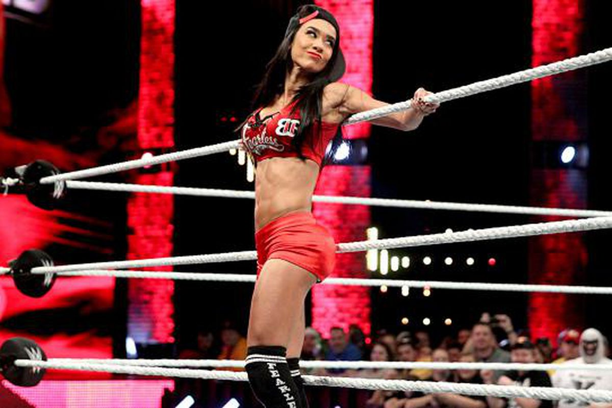 Pic: AJ Lee as Nikki Bella, complete with stuffed top