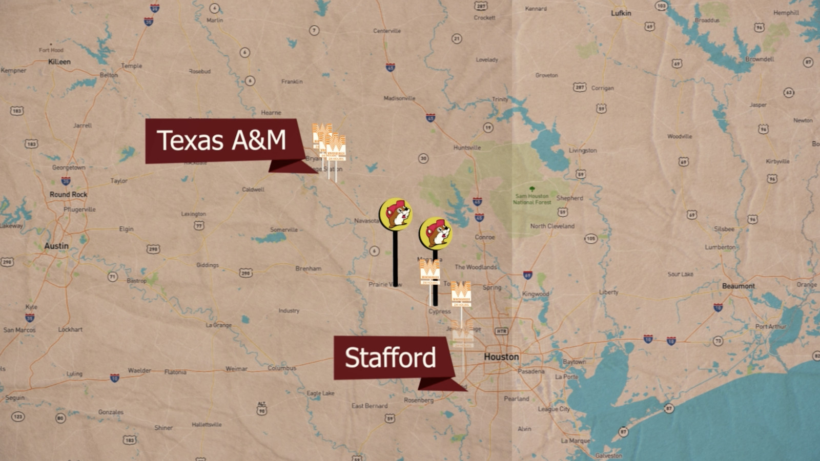 bucees locations map with Video Texas Am Aggies National Signing Day Map Whataburger Bucees on Buc Ees A Pit Stop Like No Other in addition 454022 as well Buc Ee S Multiple Locations 147667 also Madisonville further Photos.