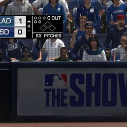 A close-up of the MLB Network score box in <em>MLB 17</em>.