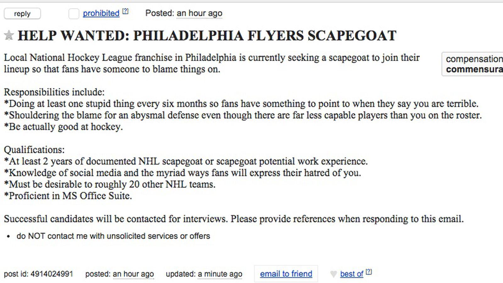 help wanted philadelphia flyers seeking experienced professional help wanted philadelphia flyers seeking experienced professional scapegoat broad street hockey