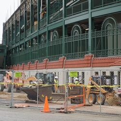 Work being done in front of the ticket windows, along Clark Street