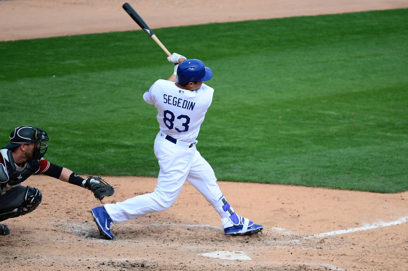 Rookie Segedin gets four RBIs as Dodgers defeat Red Sox