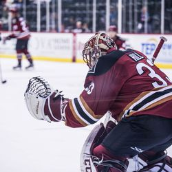 Hill readies to make a save during warm-ups