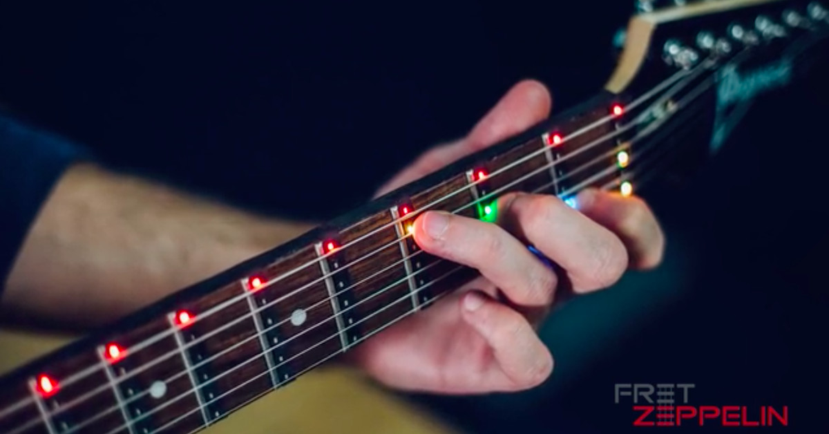 led lights on a fretboard seem like the obvious way to learn guitar the verge. Black Bedroom Furniture Sets. Home Design Ideas