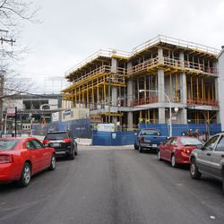 View of the Hotel Zachary project, looking east on Patterson Street