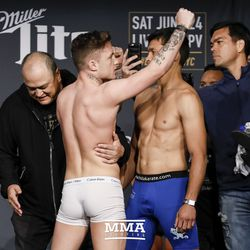 James Gallagher and Chinzo Machida square off at Bellator NYC weigh-ins.
