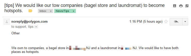 Pokemon Go tips email - bagel store and laundromat 740