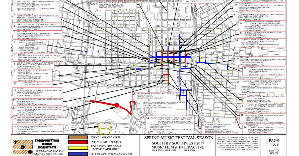 sxsw 2017 street closure map is unsurprisingly a doozy curbed