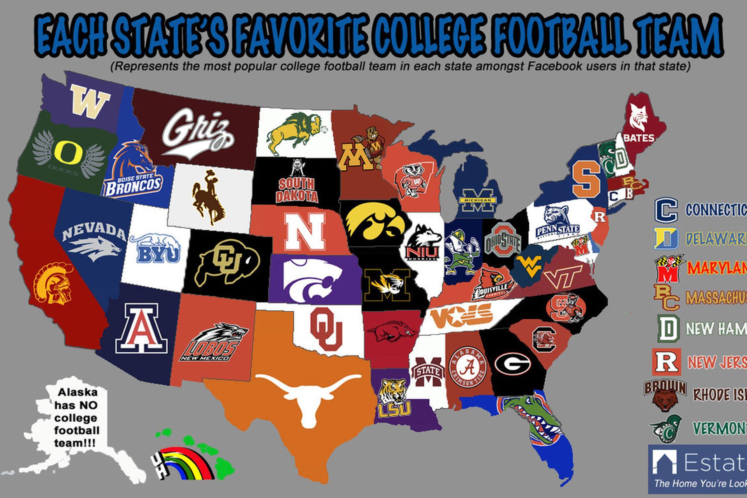 Football map college football teams ncaa football