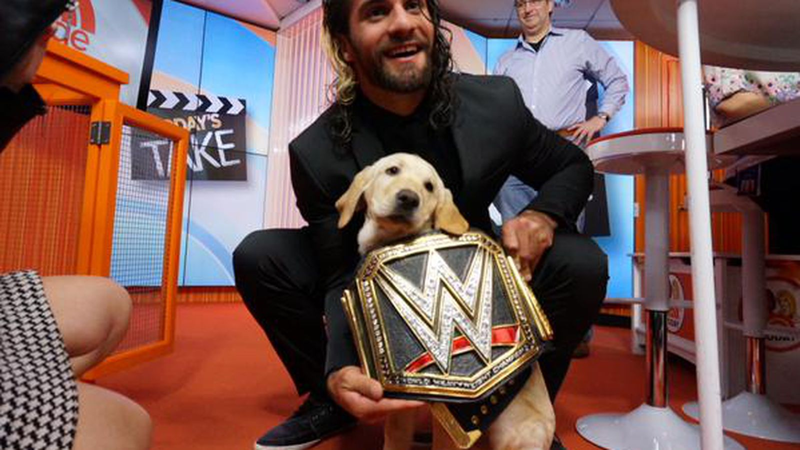 seth rollins put the wwe championship belt on the today