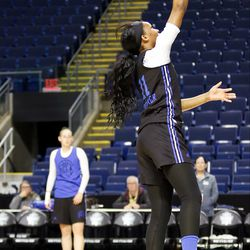 UCLA's Lajahna Drummer during a drill at their Sweet 16 practice.