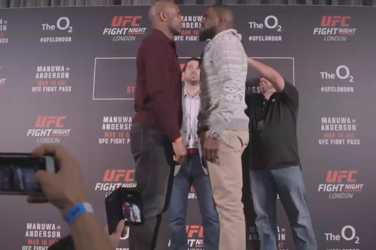 UFC Fight Night 107 staredowns: Manuwa Anderson, Nelson Jouban face off at London media day (Video)
