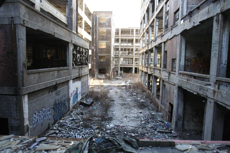 In this photo taken Jan. 28, 2010, the abandoned 3.5-million-square-foot Packard car plant is seen in Detroit