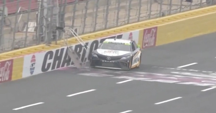 NASCAR driver hits staircase inadvertently left on track at Charlotte
