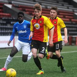 Serge Atayaki is crowded out by the Partick defence during Rangers' 3-2 win over Thistle<br>