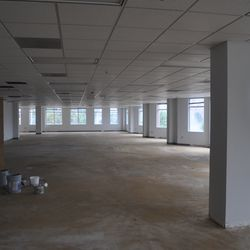 Inside a second floor office space, ready to be built out for a tenant.