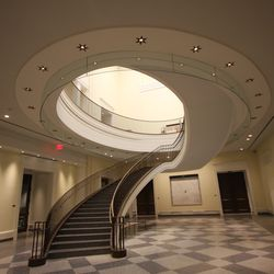 The elliptical staircase was one of the most intricate design elements.