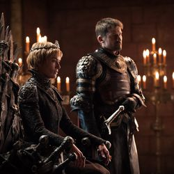 Cersei now sits on the Iron Throne, with her brother Jaime at her side.
