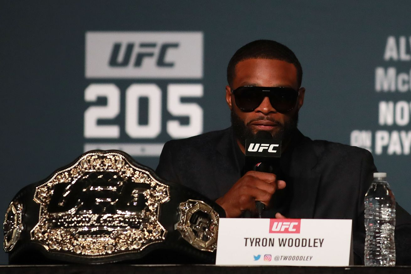 community news, Drama queen Tyron Woodley sticks to filtered talking points during UFC 209 press conference