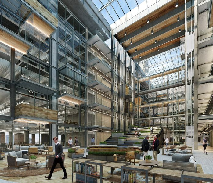 an illustration of the atrium of the renovated boiler house apple head office london