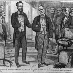 Abraham Lincoln (left) and James Buchanan (right)