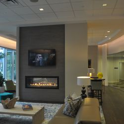 A fireplace in the lounge on the 8th floor.