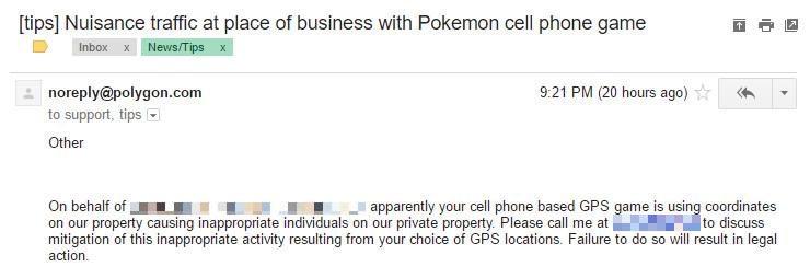 Pokemon Go tips email - hospital 740