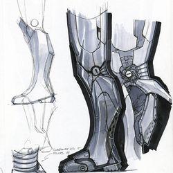 PHIL SAUNDERS Leg articulations / ADI GRANOV Iron Man study / Concept art for Iron Man 2008<br> © 2017 MARVEL<br><br><br><br>