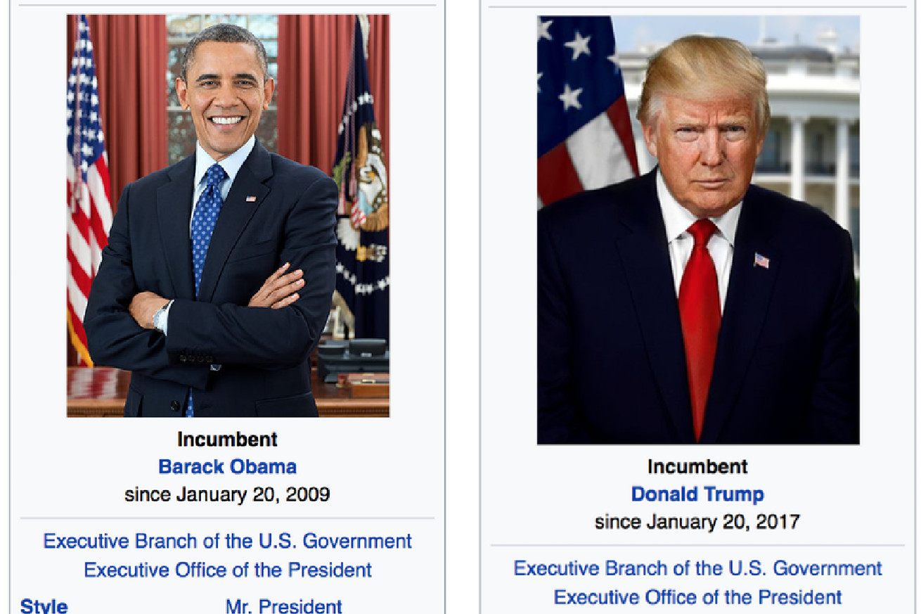 wikipedia editors can t decide if trump is the president yet