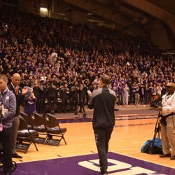 Northwestern fans give head coach Chris Collins an ovation ahead of the Selection Sunday show.