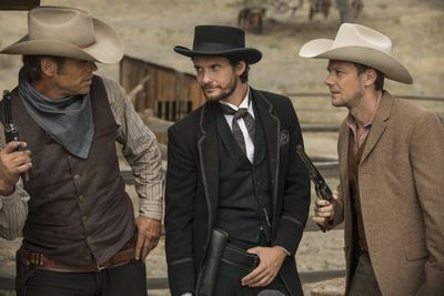 Chris Browning, Ben Barnes, and Jimmi Simpson in HBO's Westworld