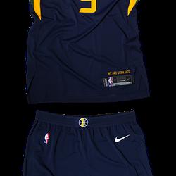 2017-2018 Uniform full look. Addition of gold white trim on bottom of shorts.