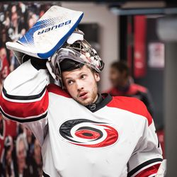 Callum Booth takes the ice for Team White in the scrimmage. July 1, 2017. Carolina Hurricanes Summerfest and Development Camp, PNC Arena, Raleigh, NC. Copyright © 2017 Jamie Kellner. All Rights Reserved.