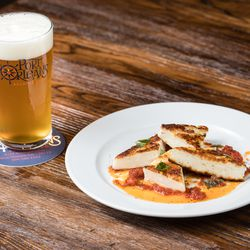 The menu pairs the food with the beer, like this Pilsner paired with grilled haloumi cheese, reduced tomato sauce with Bentons bacon, and fresh basil.