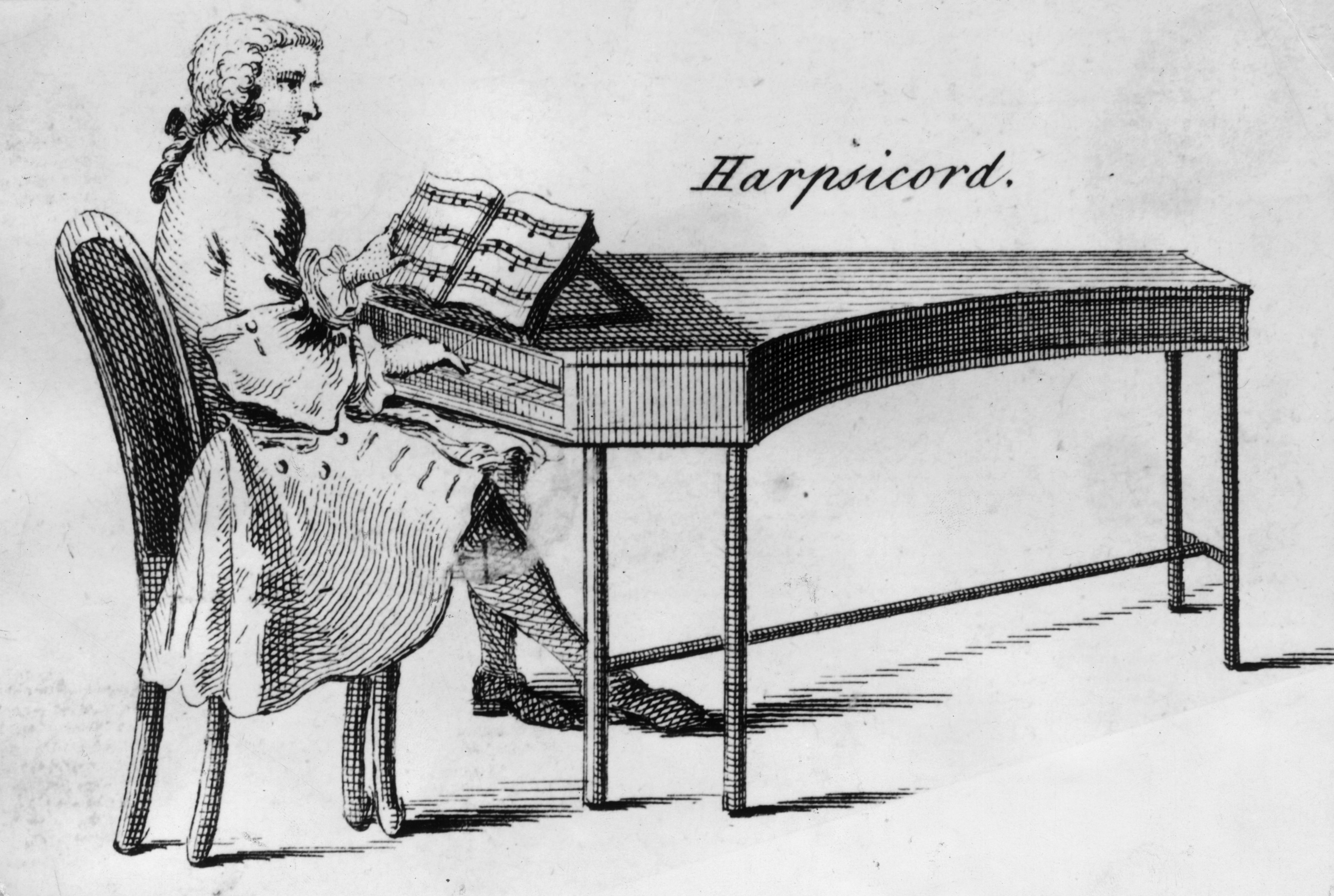 Organ Piano Drawing a 1750 Drawing Shows a Man