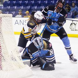 Beauts' goalie Brianne McLaughlin makes a save during the Isobel Cup Final in Lowell, Mass., on March 19.