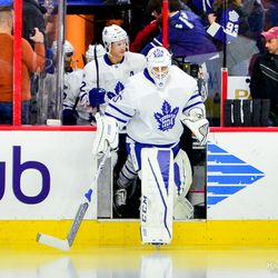 Curtis McElhinney leads the team out onto the ice during warmups