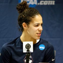 UConn's Kia Nurse (11) during the postgame press conference.