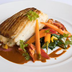Stuffed skate with lobster, chard, and baby carrots