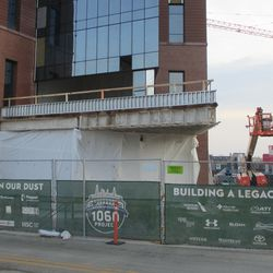 Brand new ledge at the NW corner, plaza building