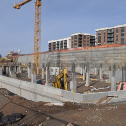 Construction progressing behind the Excelsior Mill.