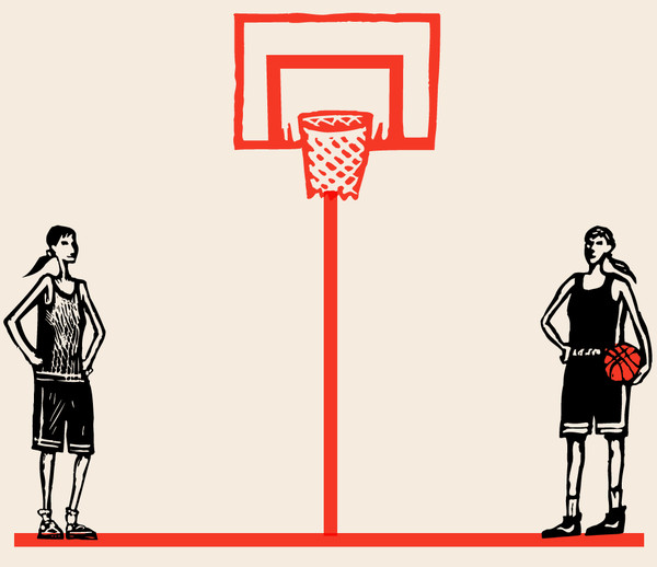 Illustration of two girls in basketball uniforms near a basketball net.