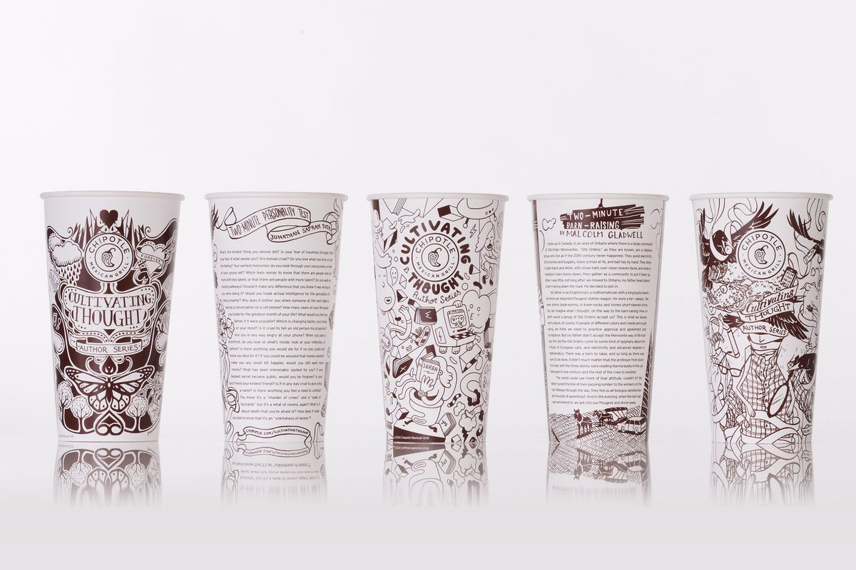 chipotle will begin serving essays by famous authors on its cups the next time you re alone in a chipotle a giant burrito and a bag of chips you won t need to search your phone for something to keep your attention