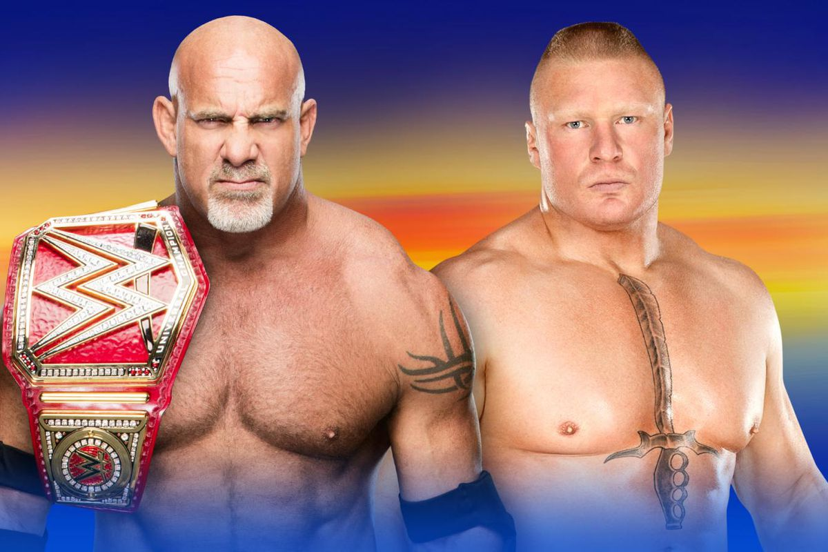 Image result for Goldberg vs Lesnar At WrestleMania 33 For the WWE Universal Title